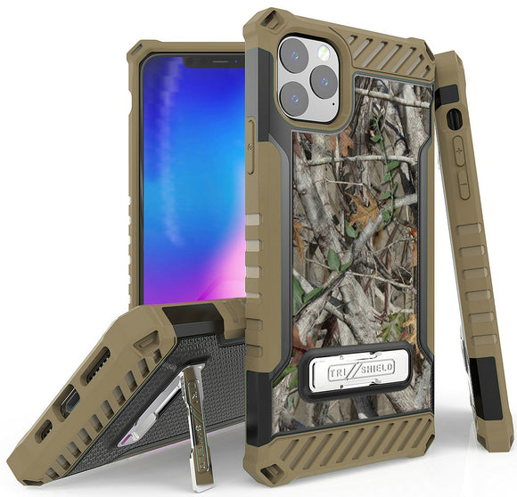 Autumn Camo Tree Real Woods Case Rugged Cover Stand for Apple iPhone 11 Pro