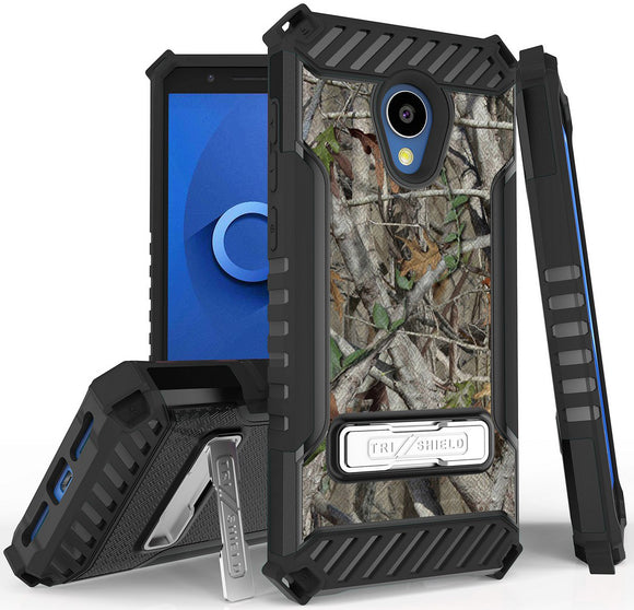 Autumn Camo Tree Real Woods Case Cover Stand for Alcatel 1X Evolve, IdealXTRA
