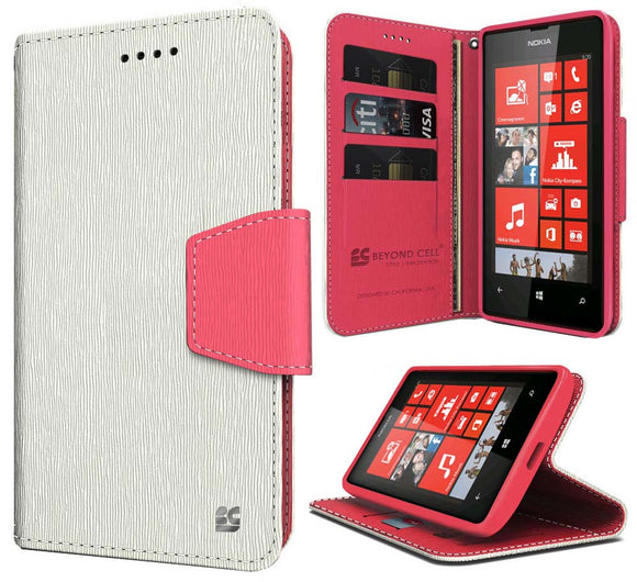WHITE PINK INFOLIO WALLET CREDIT CARD ID CASE COVER STAND FOR NOKIA LUMIA 520