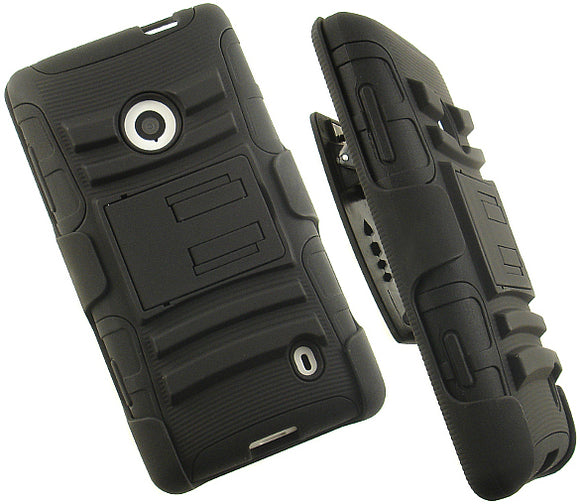 BLACK RUBBER SOFT SKIN HARD CASE STAND BELT CLIP HOLSTER FOR NOKIA LUMIA 521