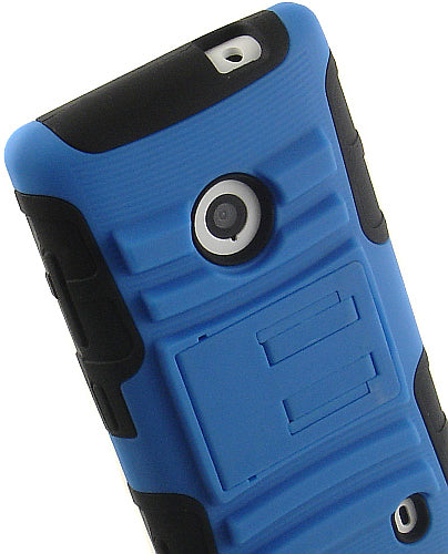 BLUE RUBBER SOFT SKIN HARD CASE STAND BELT CLIP HOLSTER FOR NOKIA LUMIA 521