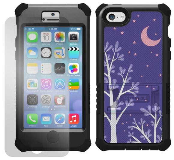 PURPLE NIGHT STAR MOON TRI-SHIELD DESIGN CASE COVER STAND FOR APPLE iPHONE 5c