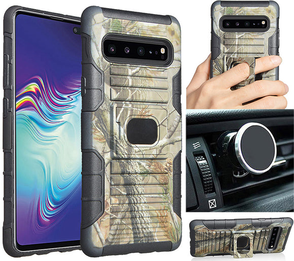 Camo Tree Real Woods Case Cover + Magnetic Car Mount for Samsung Galaxy S10 5G