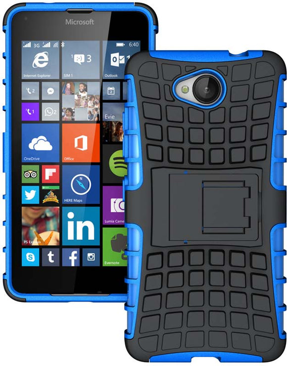 BLUE GRENADE GRIP RUGGED TPU SKIN HARD CASE COVER STAND FOR MICROSOFT LUMIA 650