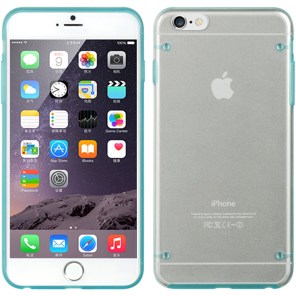 BABY BLUE CLEAR TRANSPARENT FUSION HARD SKIN CASE COVER FOR iPHONE 6 PLUS 5.5