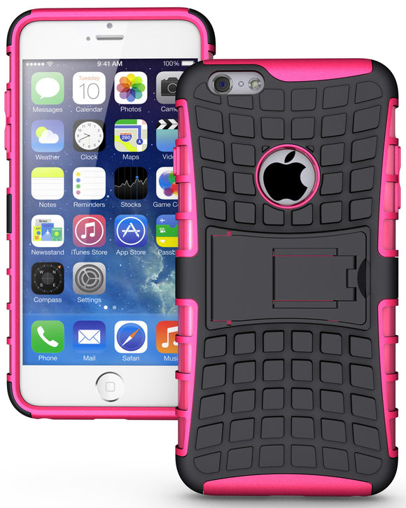 PINK GRENADE GRIP RUGGED TPU SKIN HARD CASE COVER STAND FOR iPHONE 6 PLUS 5.5