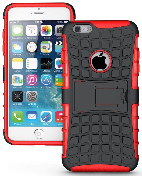 RED GRENADE GRIP RUGGED TPU SKIN HARD CASE COVER STAND FOR iPHONE 6 PLUS 5.5