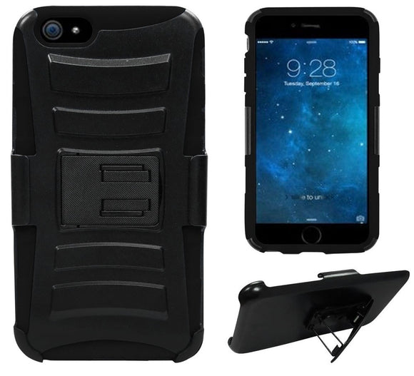 BLACK HEAVY DUTY ARMOR SKIN CASE BELT CLIP HOLSTER FOR APPLE iPHONE 6 PLUS 5.5