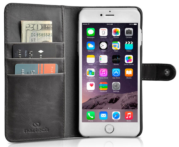 NAZTECH KLASS BLACK WALLET CASE ID CREDIT CARD SLOT FOR APPLE iPHONE 6 4.7