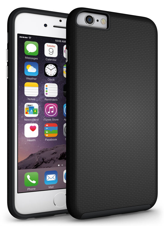 BLACK TEXTURED GRIP SOFT SKIN HARD CASE COVER FOR APPLE iPHONE 6 PLUS / 6s PLUS