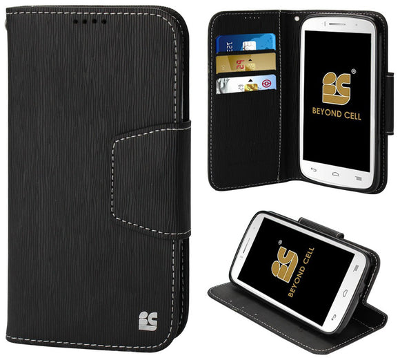 BLACK INFOLIO WALLET CREDIT CARD CASE STAND FOR ALCATEL ONE TOUCH FIERCE-2 7040T