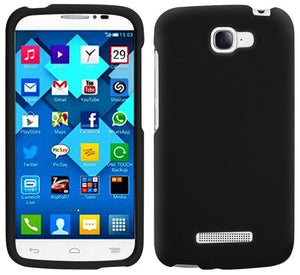 BLACK RUBBERIZED PROTEX HARD CASE COVER FOR ALCATEL ONE TOUCH FIERCE-2 7040T