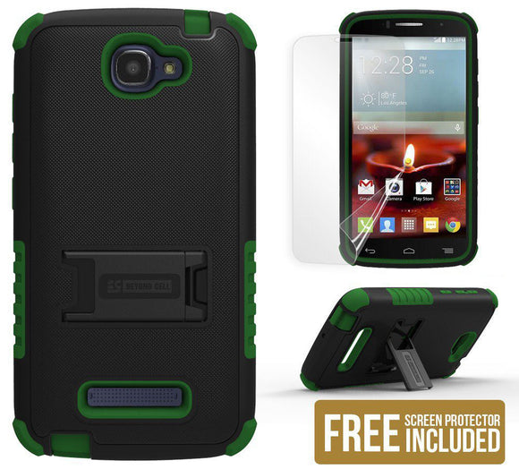 GREEN TRI-SHIELD SOFT SKIN HARD CASE STAND FOR ALCATEL ONE TOUCH FIERCE-2 7040T