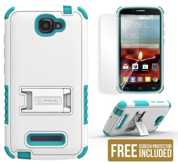 TURQUOISE TRI-SHIELD SKIN CASE COVER STAND FOR ALCATEL ONE TOUCH FIERCE-2 7040T