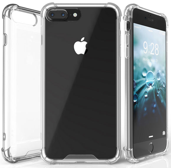 AQUAFLEX ANTI-SHOCK BUMPER CASE COVER CLEAR HARD BACK FOR APPLE iPHONE 7/8 PLUS