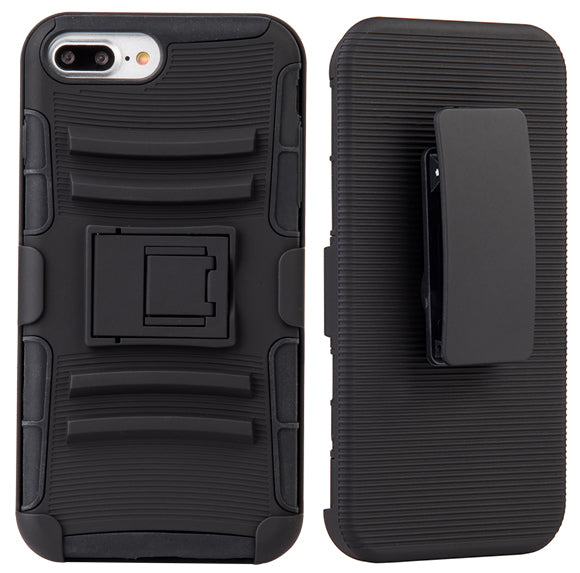 BLACK RUGGED CASE RUBBER COVER + BELT CLIP HOLSTER FOR APPLE iPHONE 7/8 PLUS