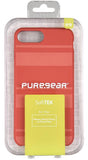 PureGear Deep Coral SOFT-TEK Case Tempered Glass for iPhone 8 Plus/7 Plus/6 Plus
