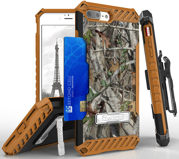 AUTUMN CAMO TREE REAL WOODS STAND CASE BELT CLIP HOLSTER FOR iPHONE 7/8 PLUS