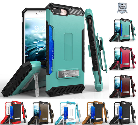 TRI-SHIELD RUGGED CASE + BELT CLIP HOLSTER STRAP STAND FOR APPLE iPHONE 7/8 PLUS
