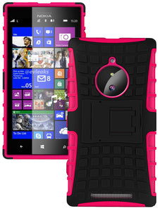PINK GRENADE GRIP RUGGED TPU SKIN HARD CASE COVER STAND FOR NOKIA LUMIA 830