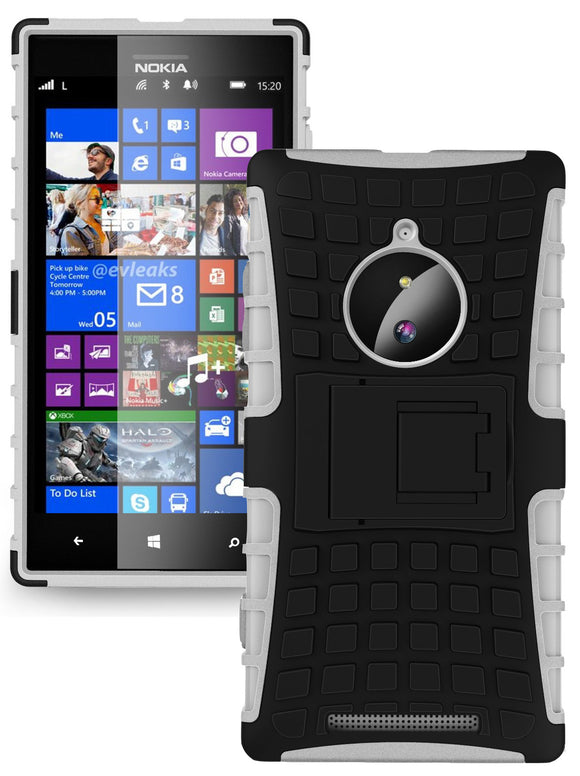 WHITE GRENADE GRIP RUGGED TPU SKIN HARD CASE COVER STAND FOR NOKIA LUMIA 830