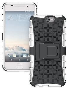 WHITE GRENADE GRIP RUGGED TPU SKIN HARD CASE COVER STAND FOR HTC ONE A9 PHONE