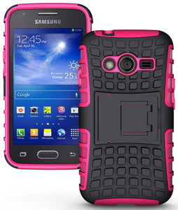 PINK GRENADE GRIP RUGGED TPU SKIN HARD CASE COVER STAND FOR SAMSUNG GALAXY ACE-4