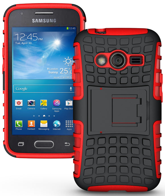 RED GRENADE GRIP RUGGED TPU SKIN HARD CASE COVER STAND FOR SAMSUNG GALAXY ACE-4