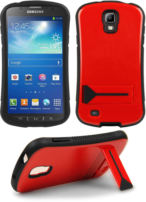 RED SEXY SLIM CURVED CASE SKIN COVER KICKSTAND FOR SAMSUNG GALAXY S4 ACTIVE i537