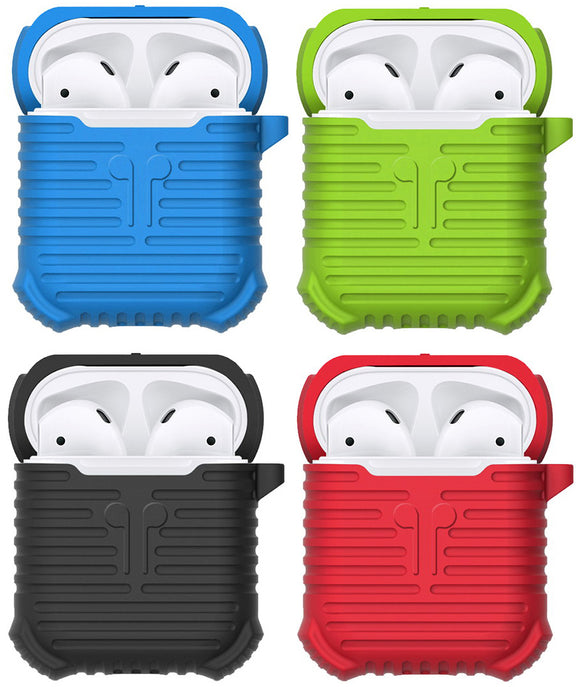 Soft Silicone Protective Carrying Case Cover with Strap Clip for Apple AirPods