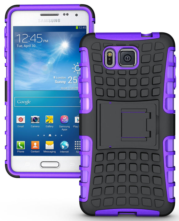 PURPLE GRENADE GRIP RUGGED SKIN HARD CASE COVER STAND FOR SAMSUNG GALAXY ALPHA