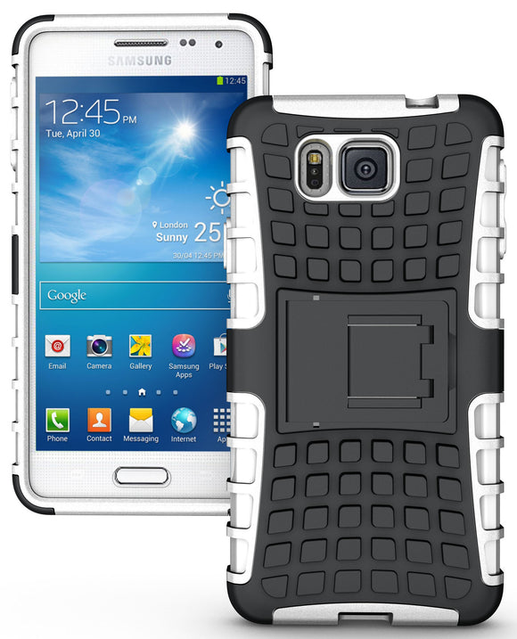 WHITE GRENADE RUGGED TPU SKIN HARD CASE COVER STAND FOR SAMSUNG GALAXY ALPHA