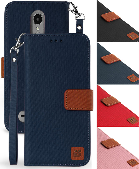 MAGNETIC FLAP WALLET CASE STAND WRIST STRAP for LG Zone 4, Risio 2/3, Rebel 2/3