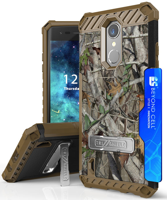 AUTUMN CAMO TREE REAL WOODS CASE STAND for LG Zone 4, Risio 2/3, Rebel 2/3 LTE
