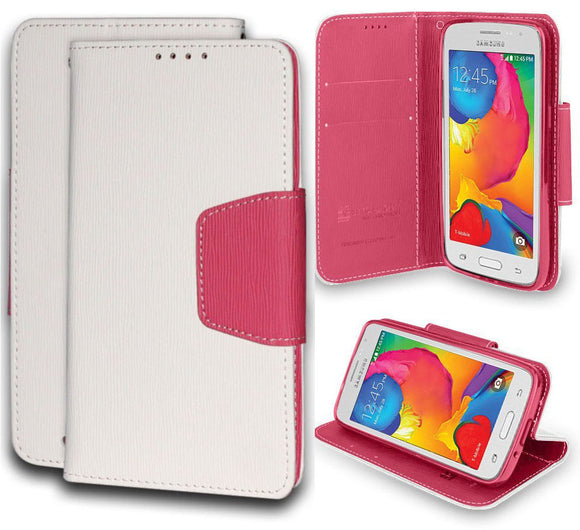 WHITE PINK INFOLIO WALLET CREDIT CARD CASH CASE STAND FOR SAMSUNG GALAXY AVANT