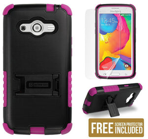 PINK TRI-SHIELD CASE COVER STAND SCREEN PROTECTOR FOR SAMSUNG GALAXY AVANT G386T