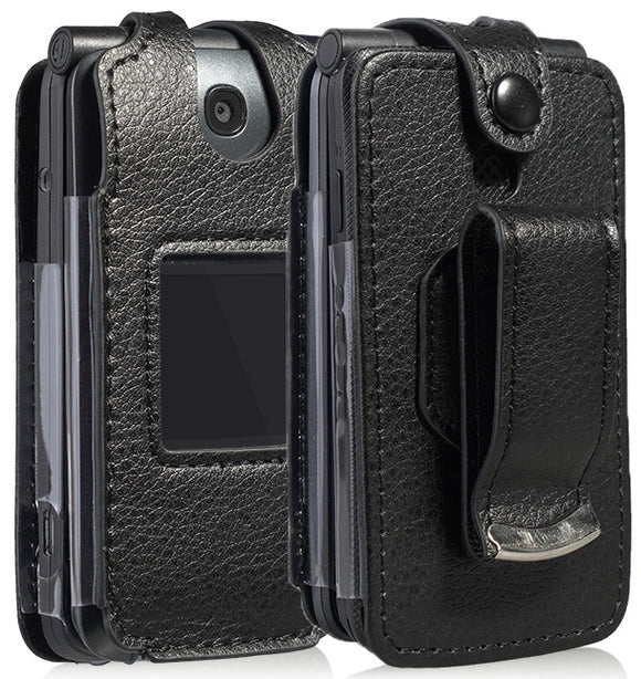 Black Vegan Leather Case with Belt Clip for Alcatel Go Flip V, MyFlip, QuickFlip