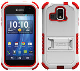 WHITE RED TRI-SHIELD SKIN CASE STAND SCREEN SAVER FOR KYOCERA HYDRO XTRM C6721