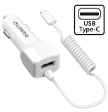 WHITE 2.1A USB TYPE-C CAR CHARGER WITH USB PORT FOR GOOGLE PIXEL 3 2 XL