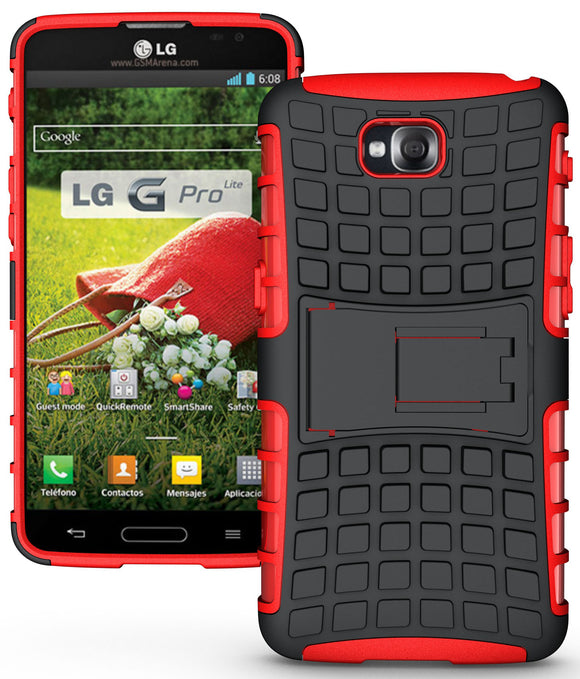 RED GRENADE GRIP RUGGED TPU SKIN HARD CASE COVER STAND FOR LG G PRO LITE PHONE