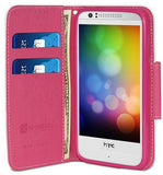 WHITE PINK INFOLIO WALLET CREDIT CARD ID CASE COVER STAND FOR HTC DESIRE 610