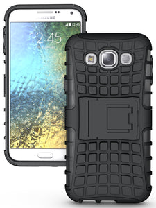 BLACK GRENADE GRIP RUGGED TPU SKIN HARD CASE COVER STAND FOR SAMSUNG GALAXY E5