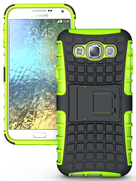 LIME GREEN GRENADE GRIP RUGGED SKIN HARD CASE COVER STAND FOR SAMSUNG GALAXY E5