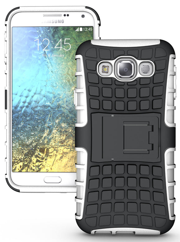 WHITE GRENADE GRIP RUGGED TPU SKIN HARD CASE COVER STAND FOR SAMSUNG GALAXY E5
