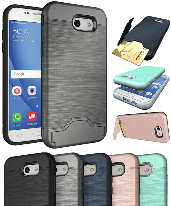 CREDIT CARD SLOT KICKSTAND CASE COVER STAND FOR SAMSUNG GALAXY J3 EMERGE 2017
