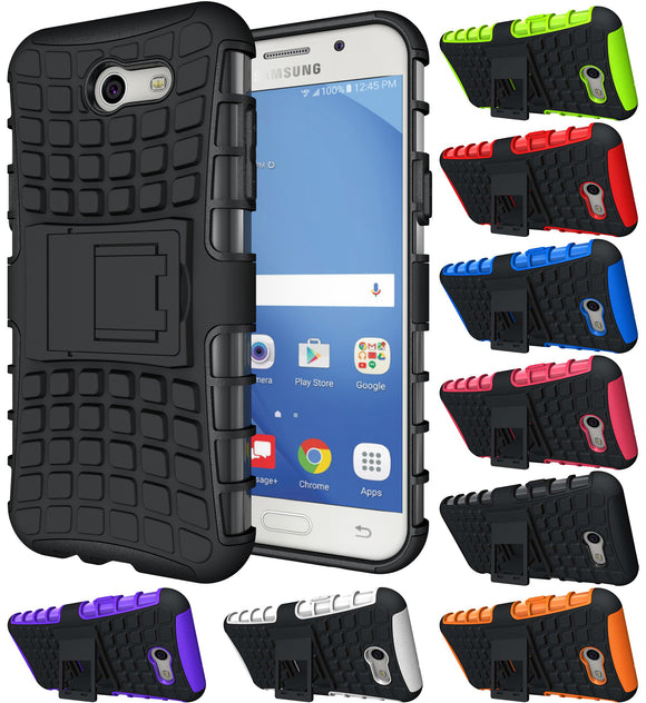 GRENADE GRIP RUGGED SKIN HARD CASE COVER STAND FOR SAMSUNG GALAXY J3 EMERGE 2017