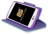 MINT PURPLE WALLET CREDIT CARD ID CASE COVER FOR LG Transpyre/Tribute 4G LTE/F60