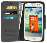 BLACK INFOLIO WALLET CREDIT CARD ID CASH CASE COVER STAND FOR LG F70 D315 PHONE