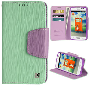 MINT PURPLE INFOLIO WALLET CREDIT CARD ID CASE COVER STAND FOR LG F70 D315 PHONE