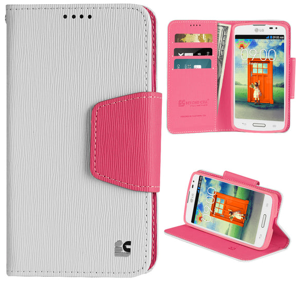 WHITE PINK INFOLIO WALLET CREDIT CARD ID CASE COVER STAND FOR LG F70 D315 PHONE